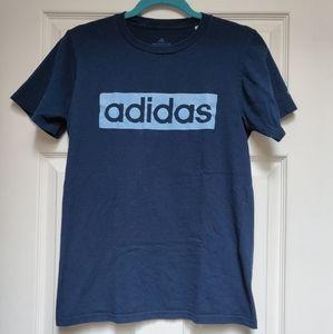 Adidas The Go-To Tee Navy Blue Box Logo Mens Small